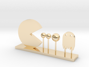 Pacman and Ghost in 14K Yellow Gold