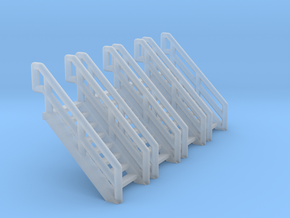 Z Scale Industrial Stairs 8 (4pc) in Smooth Fine Detail Plastic
