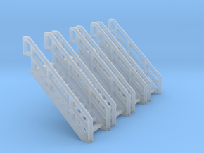 Z Scale Industrial Stairs 10 (4pc) in Smooth Fine Detail Plastic