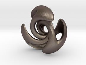 Donut 3 Cuts Twist in Polished Bronzed Silver Steel