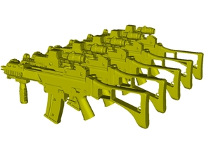 1/48 scale Heckler & Koch G-36C rifles x 5 in Smoothest Fine Detail Plastic