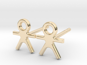 Human - Small Stud Earrings with Post. in 14k Gold Plated Brass