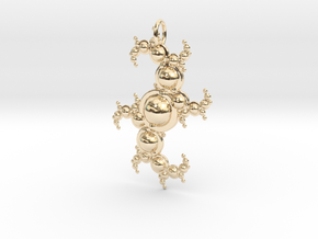 Fractal pendant with spheres in 14k Gold Plated Brass