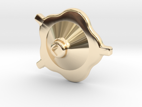 "South African Railways Small Valve Handwheel 2.5""  in 14K Yellow Gold"