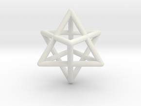 Merkaba pendant - extra small in White Strong & Flexible