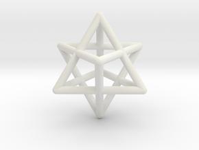 Merkaba pendant - extra small in White Natural Versatile Plastic