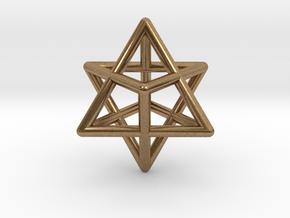 Merkaba pendant - extra small in Natural Brass