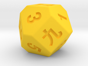 14 faces dice in Yellow Strong & Flexible Polished
