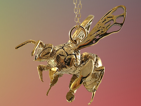 Western Honey Bee Pendant in 18k Gold Plated Brass