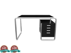 Miniature Thonet S 285/2 Table - Marcel Breuer in White Natural Versatile Plastic: 1:24