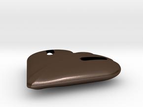 Tritium Heart Pendant in Polished Bronze Steel