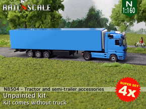 SUPER SET 4x Tractor and semi-trailer accessories  in Smoothest Fine Detail Plastic