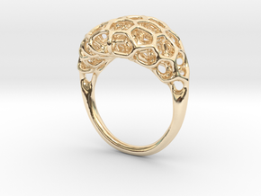 Ring Voronoi Volume II in 14k Gold Plated Brass