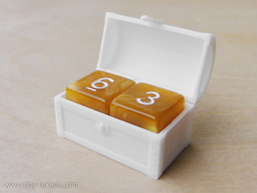 Double MTG Treasure Chest Token (16 mm dice chest) in White Processed Versatile Plastic