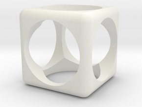 Cube in White Natural Versatile Plastic: 6mm