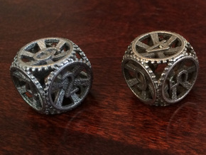 Gear Die - D6 2 Pack in Polished Bronzed Silver Steel