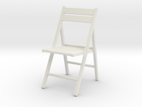 1:24 Wooden Folding Chair in White Natural Versatile Plastic