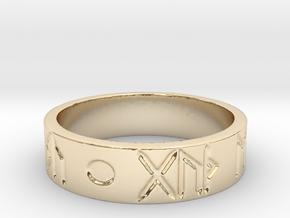 Good Health & Good Fortune Icelandic Ring in 14k Gold Plated Brass: 6 / 51.5