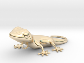 GECKO Pendant, 4cm length in 14k Gold Plated Brass