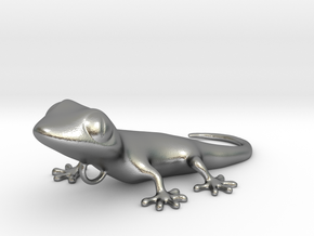 GECKO Pendant, 4cm length in Natural Silver