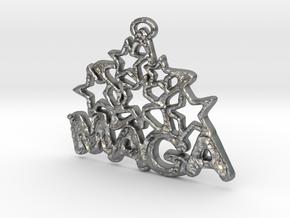 MAGA & Stars Pendant in Natural Silver