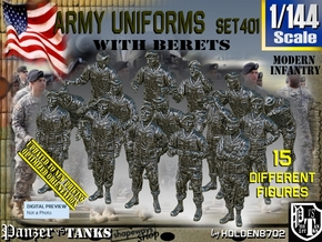 1/144 Modern Uniforms Berets Set401 in Smooth Fine Detail Plastic