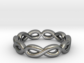 Infinity Ring: Eternal in Fine Detail Polished Silver: 7 / 54