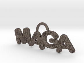 MAGA Texture Horizontal Pendant in Polished Bronzed Silver Steel