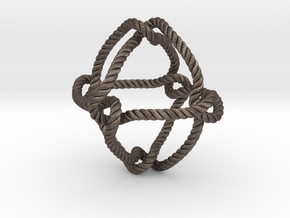 Octahedral knot (Rope with detail) in Polished Bronzed Silver Steel: Medium