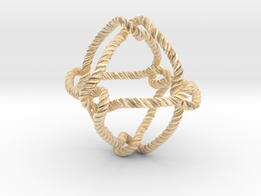 Octahedral knot (Rope with detail) in 14k Gold Plated Brass: Medium