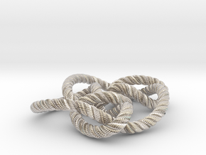 Knot 8₁₅ (Rope with detail) in Rhodium Plated Brass: Large