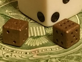 Tiny Metal Dice Set - Micro D6 in Polished Bronze Steel