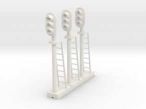 Block Signal 3 Light (Qty 3) - S 64:1 Scale in White Natural Versatile Plastic