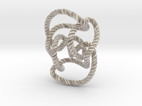 Knot 10₁₄₄ (Rope with detail) in Platinum: Large