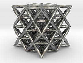 Flower Of Life 64 Tetrahedron Grid in Natural Silver