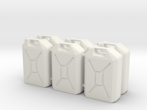 Six 1/16 scale 20L Jerrycans in White Natural Versatile Plastic