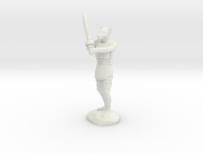 Tabaxi Blood Hunter in Leather Armor With Scimitar in White Premium Versatile Plastic