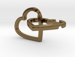 Interlocking Hearts Pendant in Polished Bronze (Interlocking Parts)