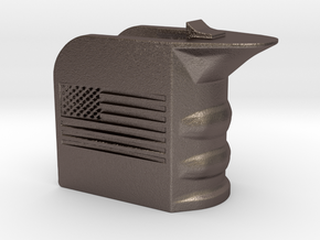 M4/AR15 Magwell Grip With United States Flag in Polished Bronzed Silver Steel
