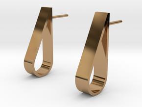 Water Droplet  Stud Earrings Set in Polished Brass