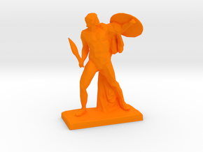 Polygonal Achilles statue in Orange Processed Versatile Plastic