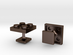 Lego Cufflinks in Polished Bronze Steel