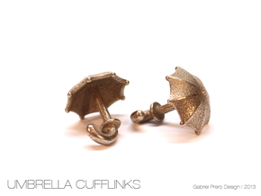 Umbrella Cufflinks in Polished Bronzed Silver Steel