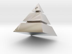 Pyramid Pendant in Rhodium Plated Brass: Small