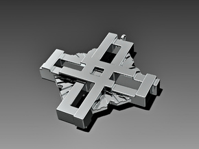 Digital Cross Amulet With Rays in Polished Silver
