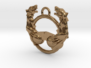Confronting Beasts Pendant in Natural Brass