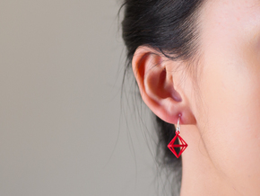 Octahedron Earrings in Red Processed Versatile Plastic