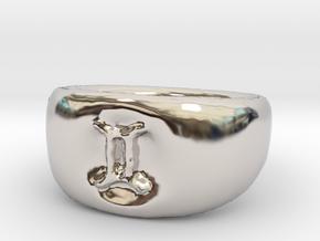 Gemini Ring sz8 in Rhodium Plated Brass