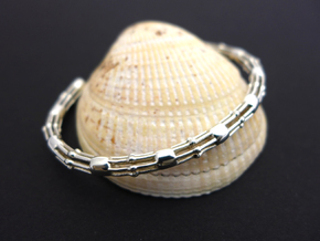 Skeletonema Diatom Bracelet  in Polished Silver: Medium