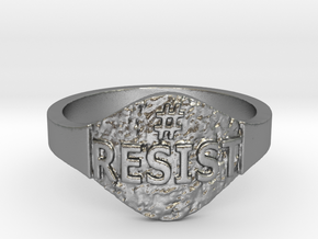 Resist Hashtag Ring in Natural Silver: 9 / 59